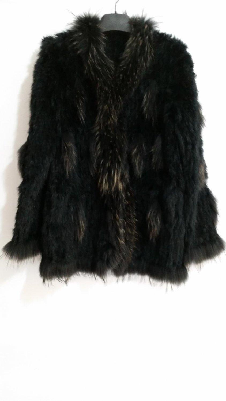 Black rabbit fur coat with raccoon fur collar