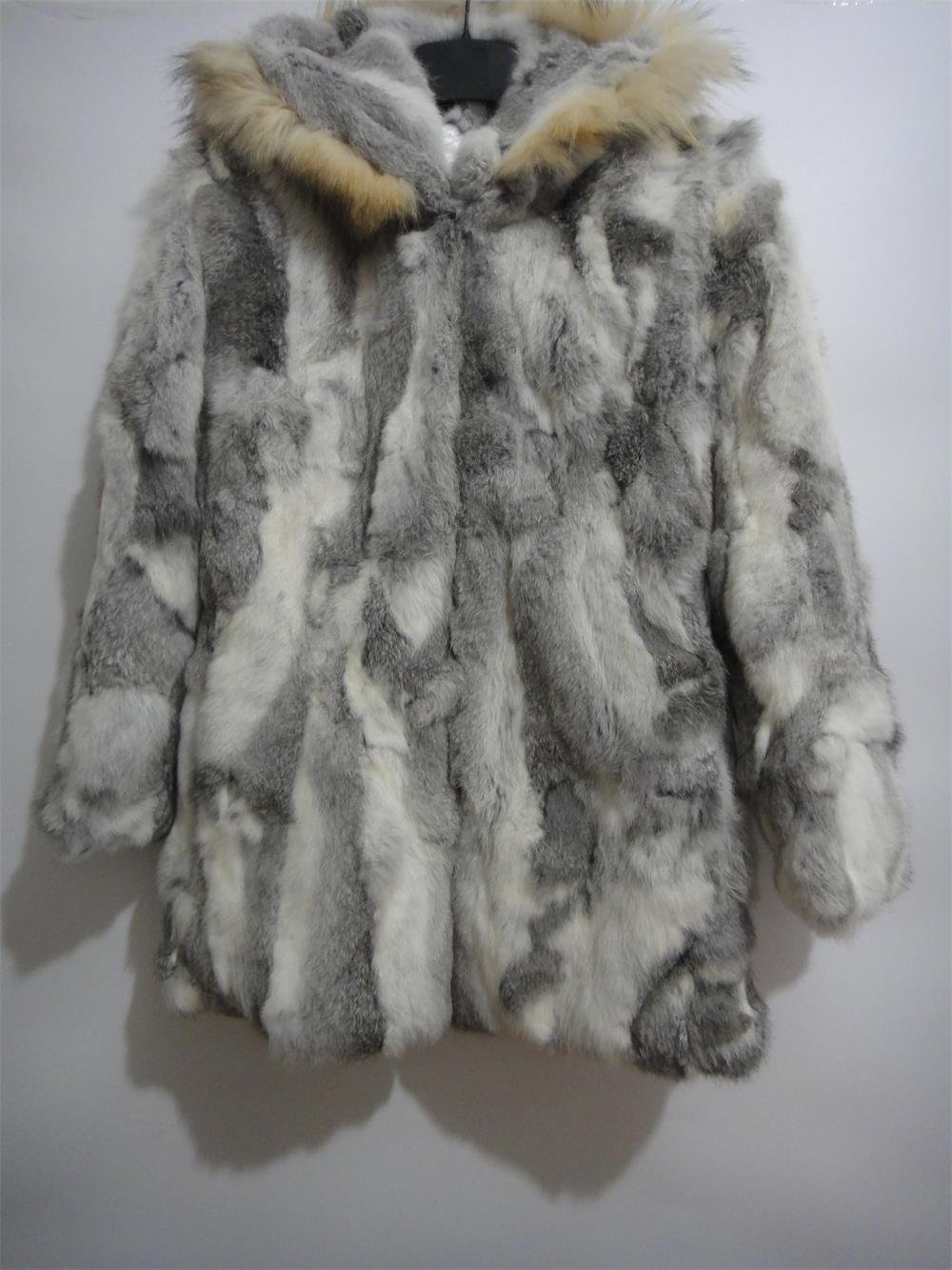 nature brown rabbit fur coat raccoon fur hooded