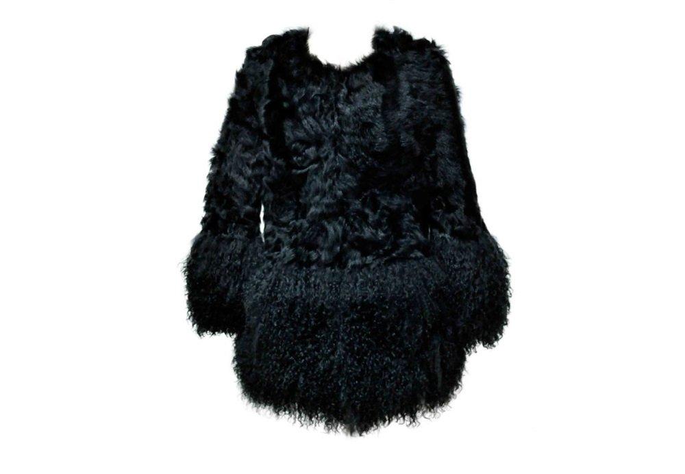 Patch wool fur coat with Mongolian fur dress coat