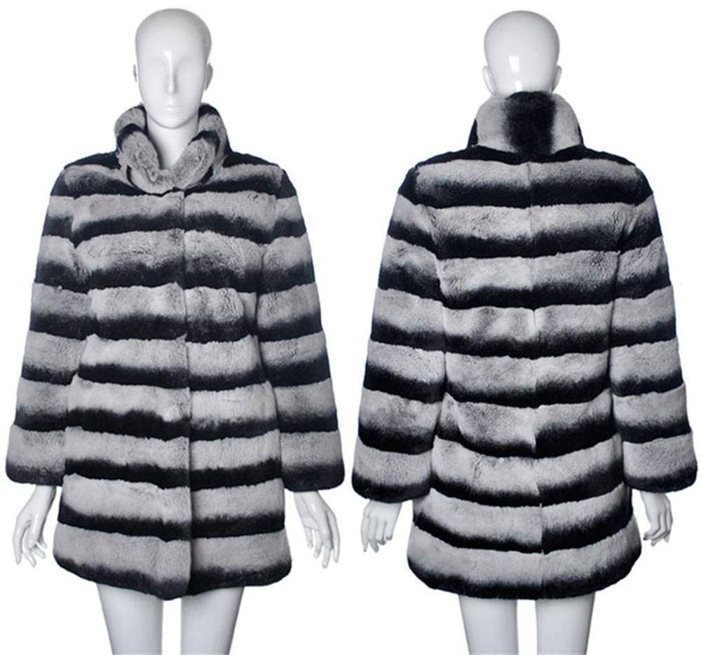 luxury chinchilla grey rex rabbit fur coat
