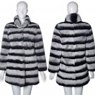 luxury chinchilla grey rex rabbit fur coat
