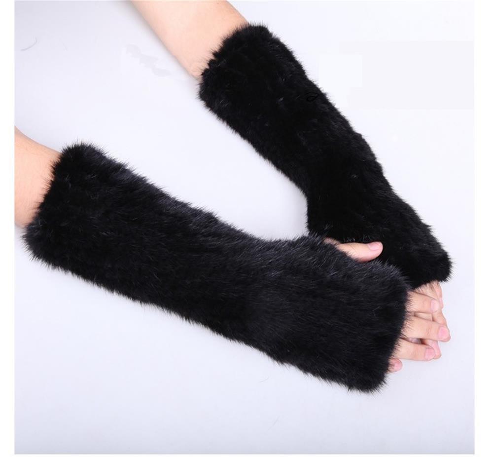 30cm Brown /Black mink fur arm warmer pattern
