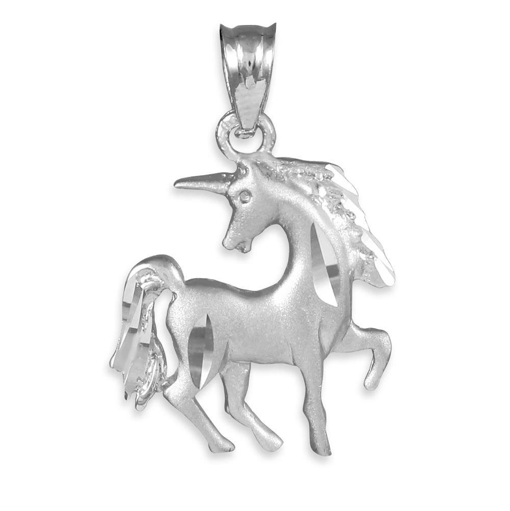 Satin Finish Diamond Cut Silver Unicorn Charm Pendant Necklace