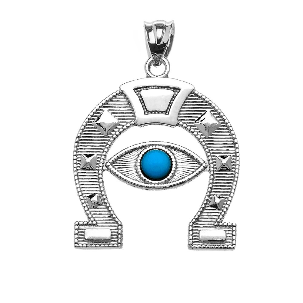 Sterling Silver Evil Eye Protection Horse Shoe Good luck Pedant Necklace