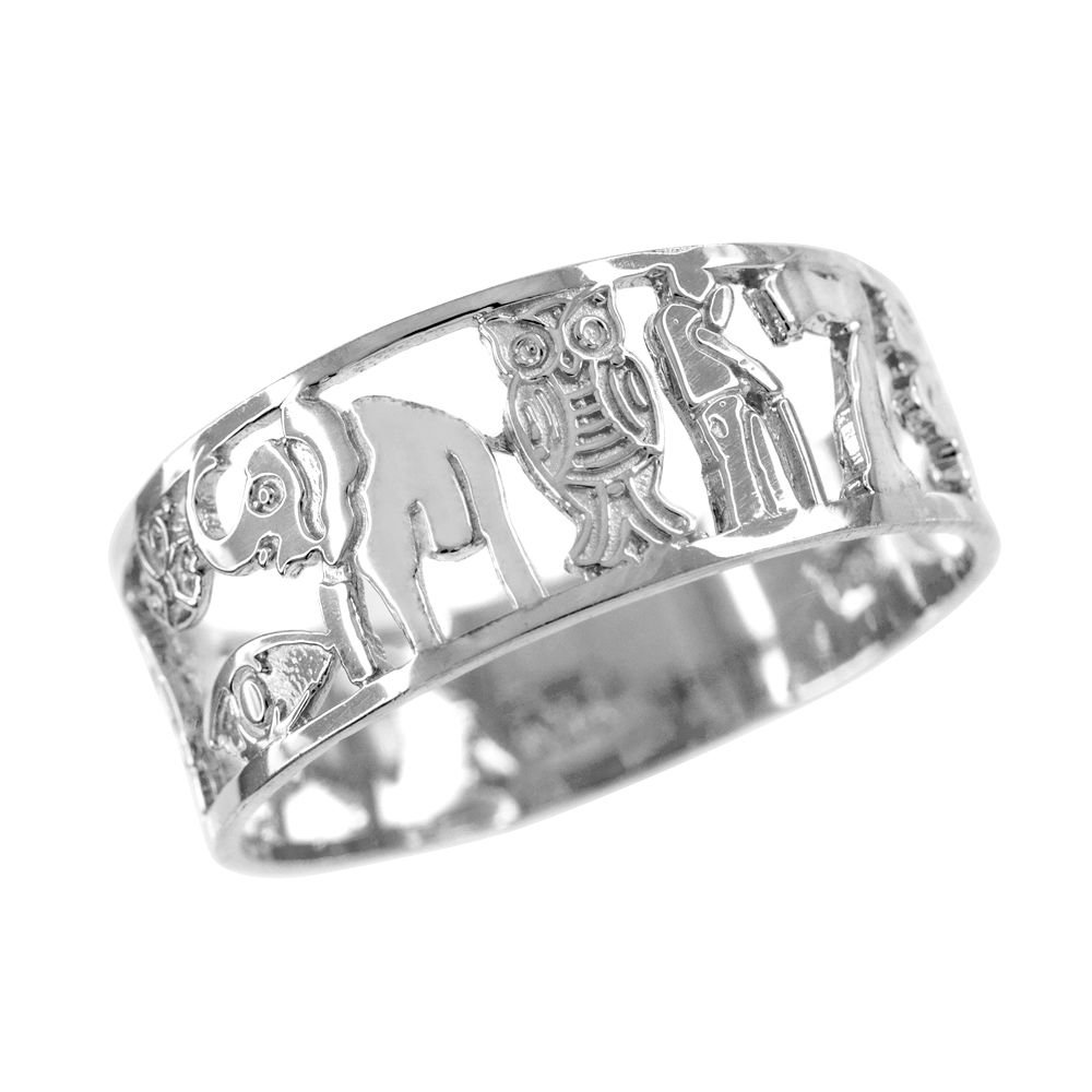 Silver Lucky Ring with Owl,Elephant,Horseshoe,Evil Eye,Seven,Cross