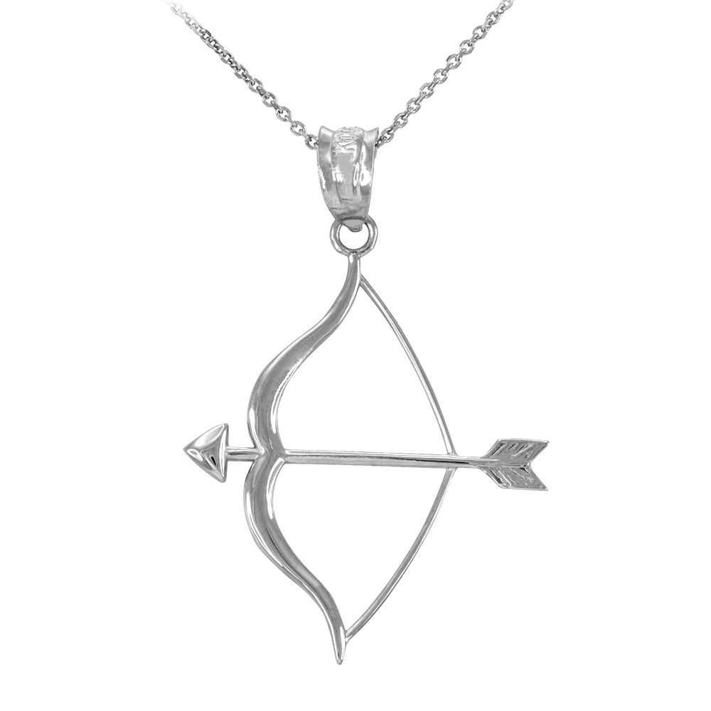 Sterling Silver Bow and Arrow Pendant Necklace