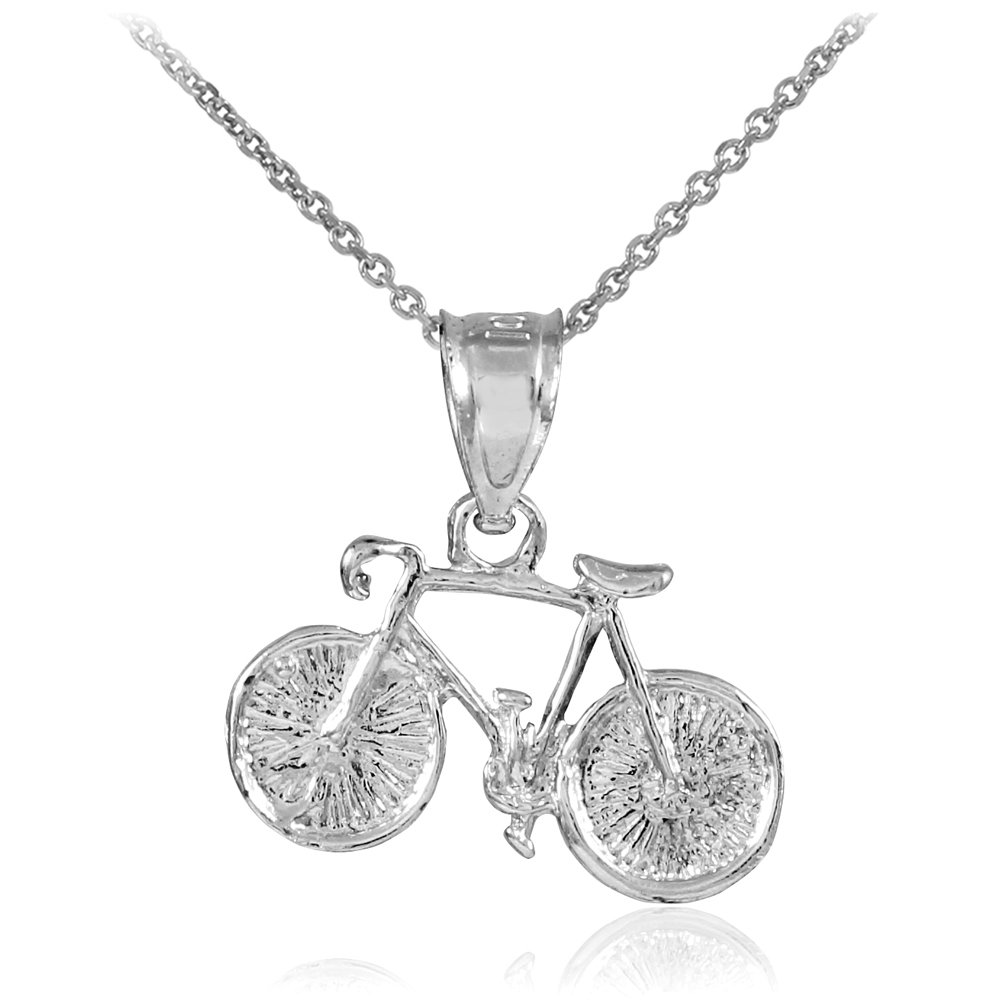 "Silver Bicycle Charm Sports Pendant Necklace,w/chain16"",bike,to give to a friend"