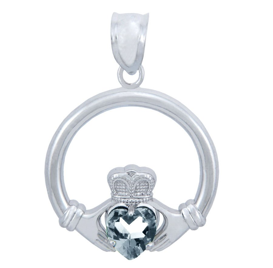 Silver Charm, shiny Clear,CZ stone, Heart Claddagh Pendant necklace,buy, irish