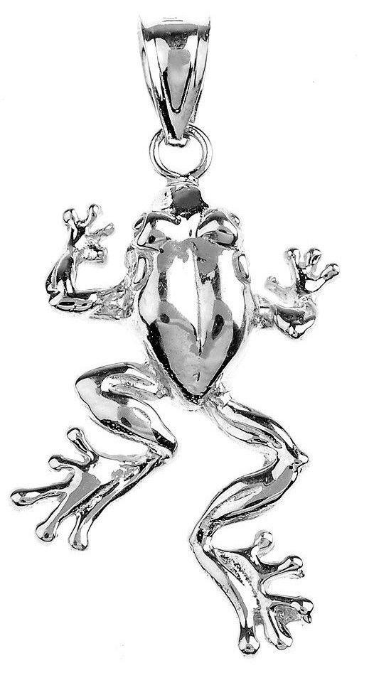 Polished 925 Sterling Silver Frog Pendant Necklace rana de plata, animaljewelry