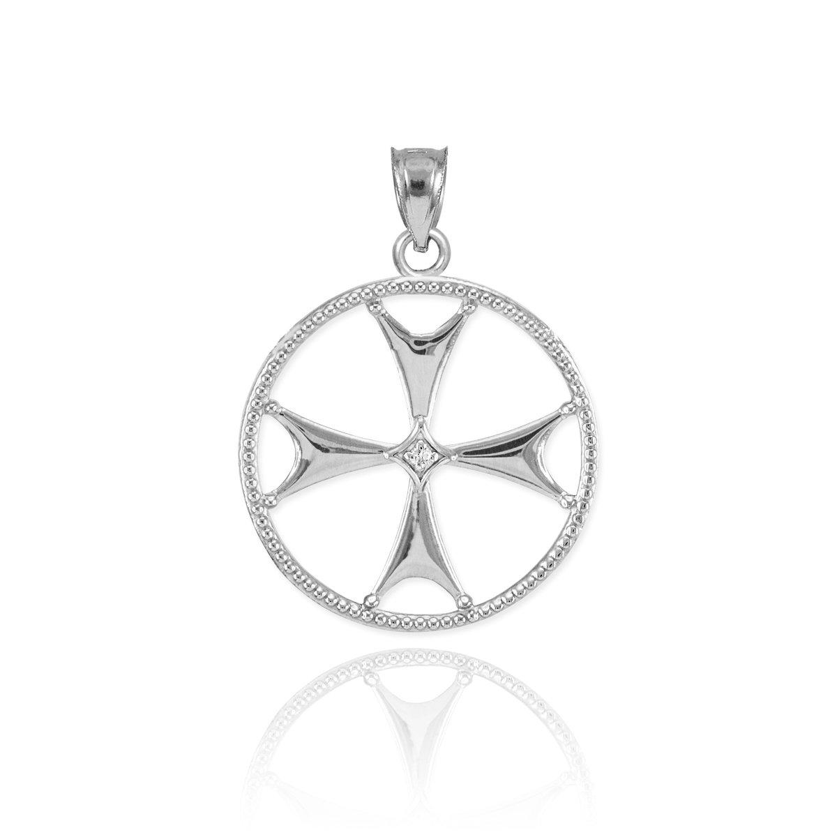 Sterling Silver Maltese Cross Pendant Necklace cruz de malta plata 925 to gif