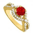 Amazingly Attractive Ruby Cubic Zirconia Ring 2.25 TGW