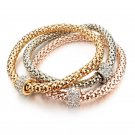 Bracelets & Bangles Real 18K Gold Silver Rose Gold Plated Bracelet Metal Chain