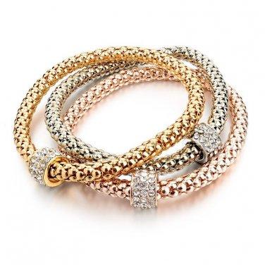 Bracelets & Bangles Real 18K Gold Silver Rose Gold Plated Bracelet Metal Chain