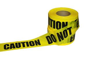 Yellow CAUTION DO NOT ENTER Tape With Bold Black Letters 2.4 Mils Case of 10