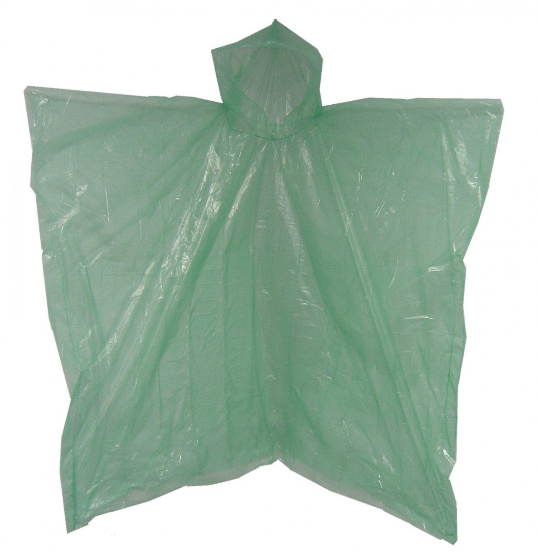 Green Emergency Disposable Polyethylene  Poncho .02 MM Case of 200