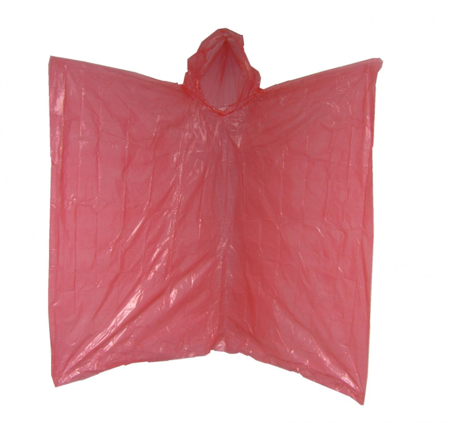 RED Emergency Disposable Polyethylene Rain Poncho .02 MM Case of 200