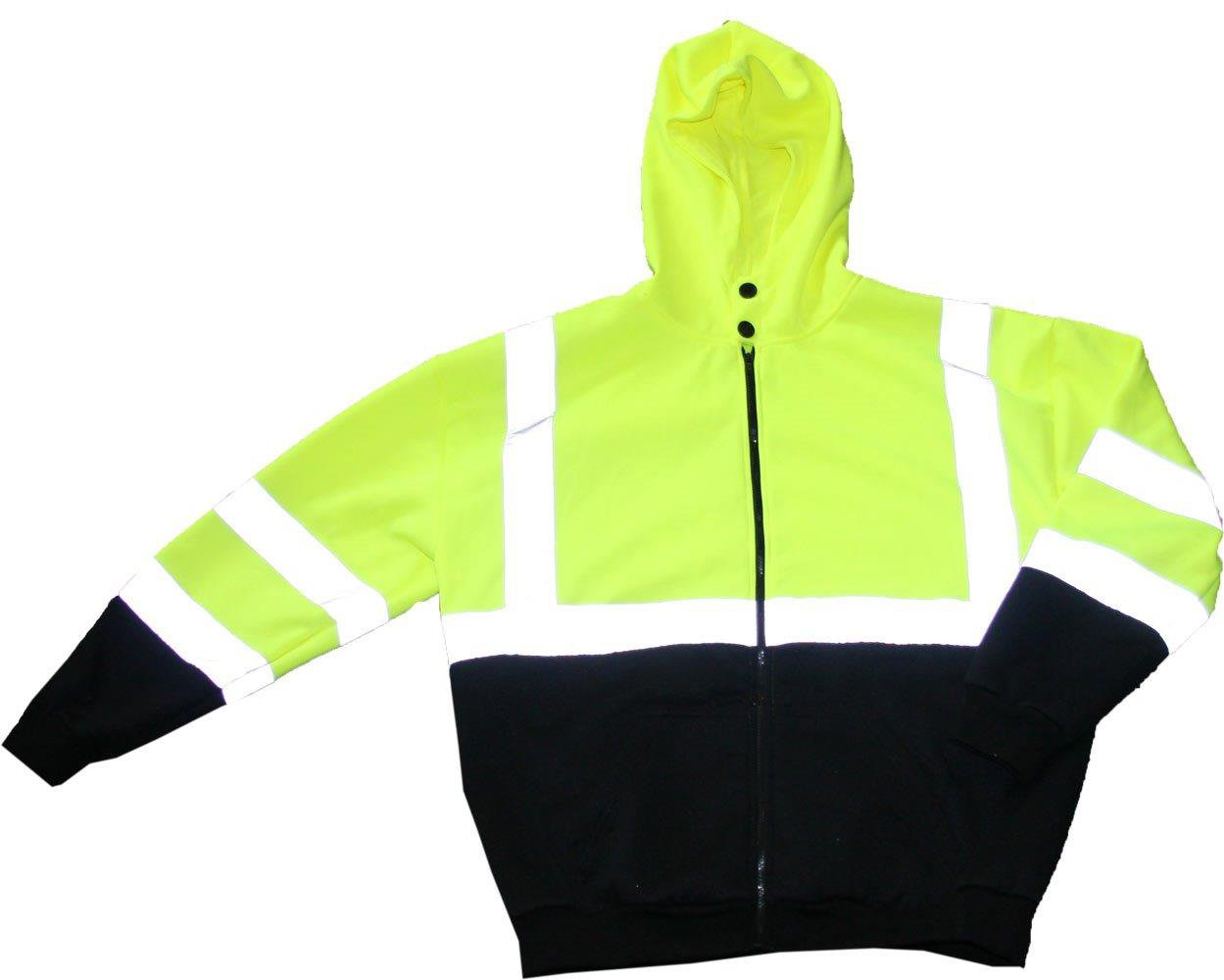 Class 3 Full Zip Sweatshirt W/ Hard Hat Friendly Hood Size Large