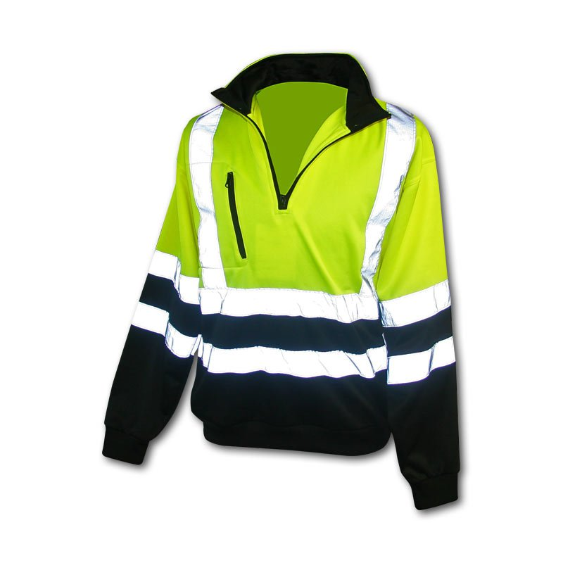 Class 3 Hi Vis 1/4 Zip Pullover Sweatshirt LIme With Black Size X-Large
