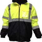 Class 3 Hi Visibility Bomber With Removable Fleece Liner Lime With Black Bottom