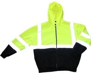 ANSI Class 3 Full Zip Sweatshirt With Hard Hat Friendly Hood, Medium