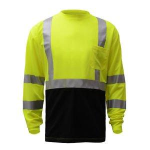 Class 3 Hi Vis Long Sleeve Shirt With Black Bottom
