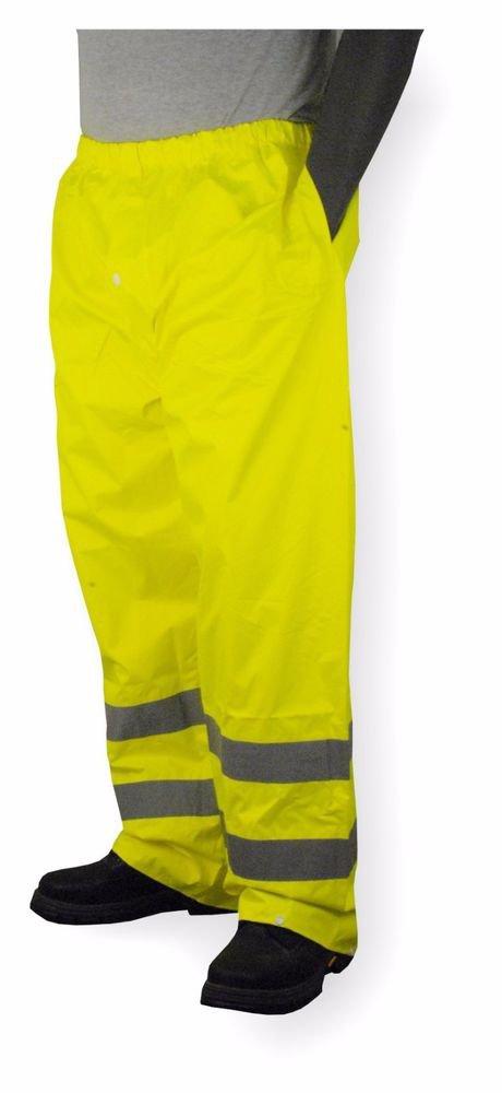 Class E Hi Vis Lime Rain Pant With Reflective Stripes, Size Medium