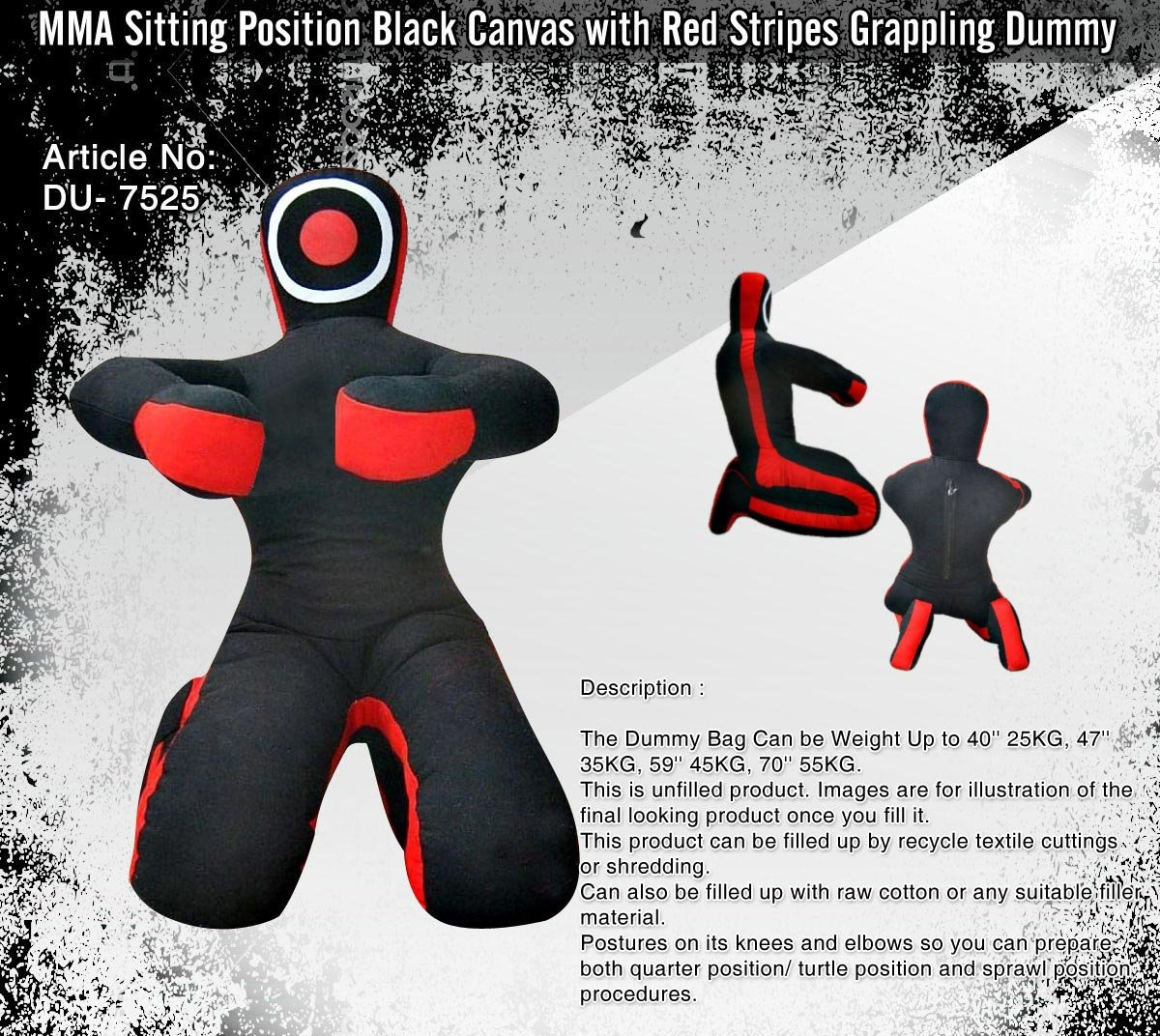 Black Canvas Made JiuJitsu Dummy 69''