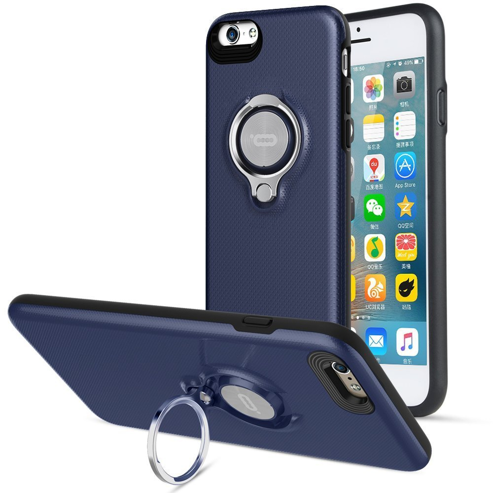 360 Degree Rotating Ring Grip Case for iPhone 6 Plus Blue