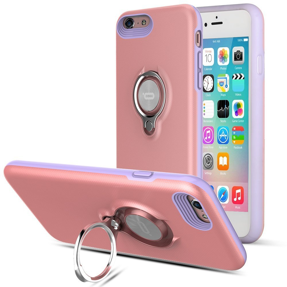 360 Degree Rotating Ring Grip Case for iPhone 6 Plus Pink