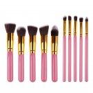 10 Pcs Makeup Brushes Premium Synthetic Kabuki Brushes Set Pink
