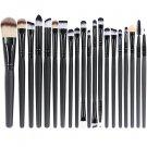 20 Pcs Eye Shadow Foundation Eyebrow Lip Brush Makeup Brushes Tool Black