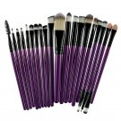 20 Pcs Eye Shadow Foundation Eyebrow Lip Brush Makeup Brushes Tool Purple