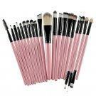 20 Pcs Eye Shadow Foundation Eyebrow Lip Brush Makeup Brushes Tool Pink