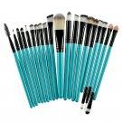 20 Pcs Eye Shadow Foundation Eyebrow Lip Brush Makeup Brushes Tool Blue