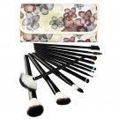 Professional 12 Pcs Makeup Cosmetics Brushes Set Kits with Rose Pattern Case Black