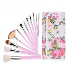 Professional 12 Pcs Makeup Cosmetics Brushes Set Kits with Rose Pattern Case Pink