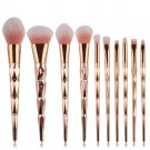 10PCS Make Up Foundation Eyebrow Eyeliner Blush Cosmetic Concealer Brushes Golden