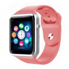 A1 Smartwatch Phone Camera Sound Recorder Alarm Pedometer FM Sleep Monitor Watch pink