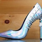Lust for Life Krayzie Silver Hologram Leather Pointy Toe Pump Shoe 8-11