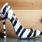 RK White Black Silver Snake Stripped Pointy Toe Pump Shoe