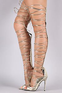 So Me Mista Demon Tie Up Laces Thigh High Heel Boot 6.5-11 FX Gold Snake