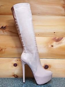 "Luichiny Really Mine Almond Beige 6"" Stiletto Heel Platform Knee Boot 6-10"