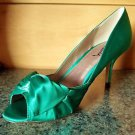 Luichiny Best One Yet Emerald Green Open Toe Satin  Pump Shoe 7 - 11