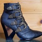 Privileged Siegal Multiple Buckle Cowboy Ankle Boot Shoe Size 6 & 7 Black