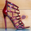 RK Burgundy Red Wine Metallic Cut Out Cage High Heel Sandal Shoe 6-11