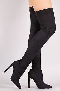 So Me Stiletto Heel Pointy Toe FX Suede Stocking Over The Knee Boot 6.5-11 Black