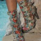 Nelly Lola Copper Teal Multi Snake Open Toe 5 Buckle 4.75 Heel Ankle Boot 6 -12
