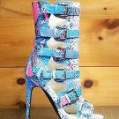 Nelly Lola Blue Multi Color Snake Open Toe 5 Buckle 4.75 Heel Ankle Boot 6.5 -12