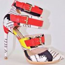 Liliana Danielle 3 Red Multi Color Fabric Print Heel Pointy Toe Shoe