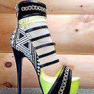 Athena Alize Neon Yellow Multi Tribal Print Ankle Cuff Strappy Platform Shoe